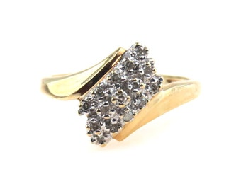Diagonal Moissanite Cluster Ring 10k Gold Size 6