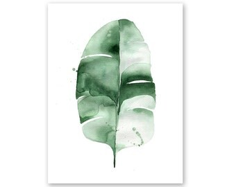 Banana Leaf no. 6 Watercolor Giclee Fine Art Print Poster of Original Painting