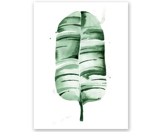 Banana Leaf no. 9 Watercolor Giclee Fine Art Print Poster of Original Painting