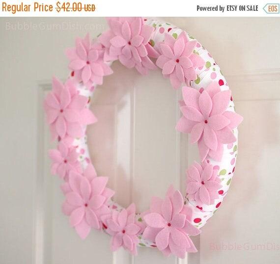 75% Off Spring Clearance Felt Flower Wreath - Pink - Flower Wreath - Polka Dot
