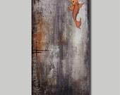 """Original Abstract Painting, Koi Fish Art, Wood Sculpture, Palette Knife, Texture Painting, Tattoo Art, Modern Wall Art, 30"""" X 16"""""""