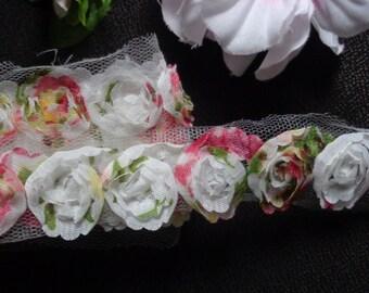 1 1/4 inch wide Chiffon Organza Flower Net Rose Lace Trim