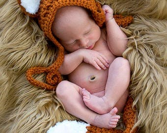 Newborn Fox Bonnet Hat & Tail Crochet Costume Set, Newborn, 0-3M, 3-6M, Baby Shower Gift, Photography Prop - MADE TO ORDER