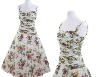 1950s Dress // Ruched Floral Nylon Plisse Dress by Heiress