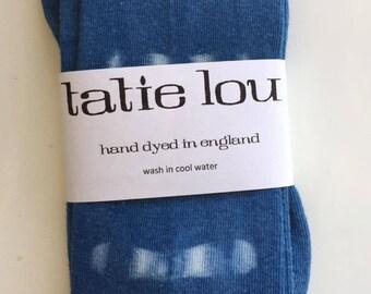 Shibori Indigo/White Dot Dyed Cotton Over The Knee Socks