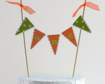 Lime Green and Orange First Birthday Cake Bunting - 'ONE' Smash Cake Topper