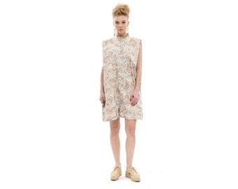 Beige short jumpsuit for summer, print Sleeveless Womens Romper, Trendy Chic One Piece, Designer Short Ladies Jumpsuit for Day / Evening