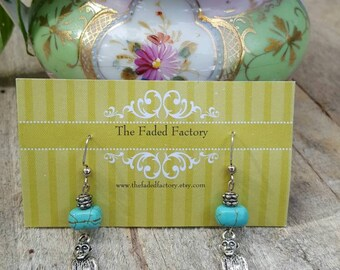 Silver monkey charm turquoise bead dangle earrings