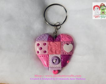 Pink Patchwork. Hearts. Keyrings. Key Chains. Handmade from Polymer Clay