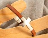 Unisex Leather Cuff Bracelet, Cross Bracelet, Tan Leather Bracelet. Silver Magnetic Clasp Leather Bracelet
