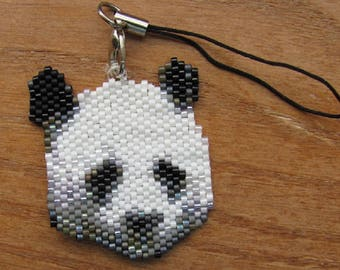 Hand Beaded Panda Bear cell phone charm