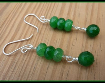 Emerald Earrings wire wrapped in Sterling Silver, May birthstone