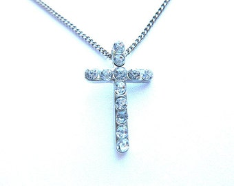 DESIGNER RHINESTONES Silvertone Cross, Vintage Silver & Rhinestone Cross, Petite Silvertone Cross Pendant with Neck Chain, Vintage Marcasite