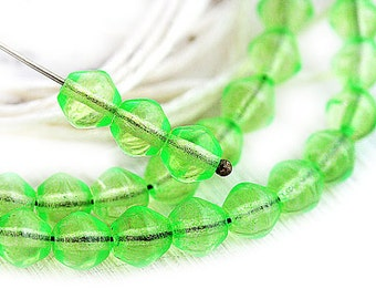 Bright Green beads, bicones, Czech glass, Crystal green pressed glass, bicone beads - 6mm - 30Pc - 1318