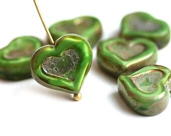 Green Heart beads, Picasso czech glass beads, table cut, glass heart - 14mm - 6Pc - 2975