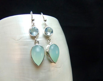 Blue Topaz and Aqua Chalcedony Sterling Silver Earrings