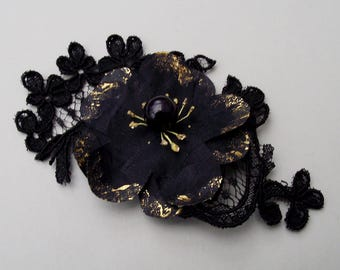 Black and Gold Silk Anemone Flower Hair Clip - wedding hair clip, bridesmaid hair flower