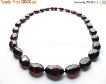 17%OFF--CHRISTMAS SALE Baltic Amber Bean Shape Cherry Color Polished Necklace
