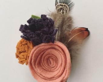 Feathers and Felt Flower Hair Clip - Felt Flower Brooch - Felt Flower Boutonniere