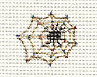 Hand Painted Halloween Canvas Needlepoint - Spider Web