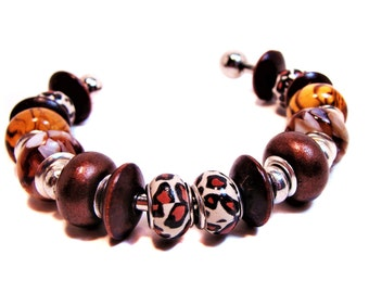 Animal Print Cuff Bracelet with Wooden Beads, European-style Beads, Brown, Beige and Leopard Print Beads