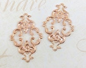 Rose Gold Filigree, Brass Diamond Filigree, Flower Connector, Brass Stamping, Wrap 23mm x 36mm- 2 pcs. (rg130)