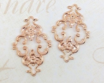 Rose Gold Filigree, Brass Filigree, Diamond Filigree, Flower Connector, Brass Stamping, Cabochon Wrap, 23mm x 36mm- 2 pcs. (rg130)