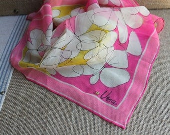 A beautiful Vintage handrolled Vera Neumann scarf with LADYBUG pink with butterflies