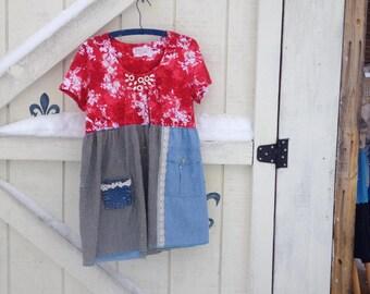 M Hippie patchwork tunic, Red denim, Boho Tunic hippie, rustic clothing M