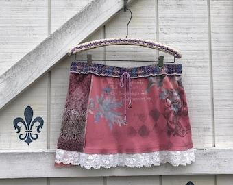 Mini knit skirt, Patchwork mini skirt, Yoga skirt, Boho knit skirt, Rustic layering skirt, M-L skirt ready to ship