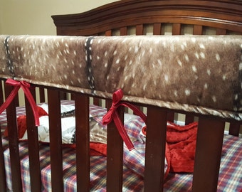 Deer Skin Minky Baby Crib Rail Guard Cover - Navy, Gray, White with Black, Blush, Coral, White with Silver, or Mint