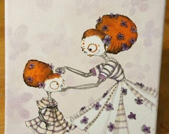 Day of the dead art, Dia de los Muertos, purple flowers, skull, sugar skull art, red hair, watercolor painting,
