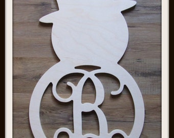 "Snowman Door Hanger with Letter - Unpainted Wood - 22"" size - Family - Holiday - Christmas - Wooden Letter - Wall Hanging - Monogram"