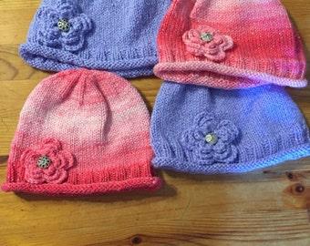 Pink girl hat, purple girl hat, hand knit girl hat, handmade hat