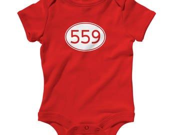 Baby One Piece - Area Code 559 Infant Romper - NB 6m 12m 18m 24m - Fresno Baby, Visalia Baby, Clovis Baby, Madera Baby, Porterville, Tulare
