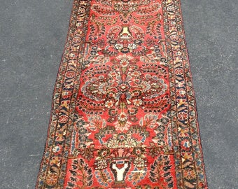 Antique Hamadan Persian Oriental Rug  Runner 2.7x17.4 Handmade in Iran