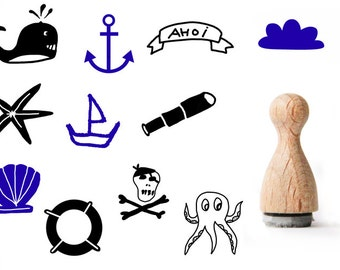 Maritime Tiny rubber stamp, Sea Rubber Stamp, Anchor rubber stamp, Ahoy rubber stamp, sailing rubber stamp, ship rubber stamp, seashell love