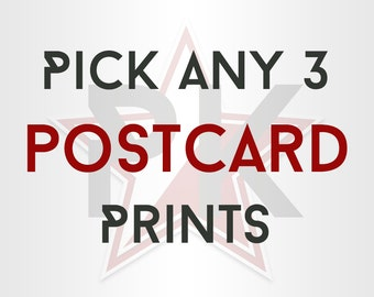 Pick Any 3 Postcard Prints - Mix and Match