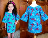 Girls Trolls Poppy Dress, Girls Dress, Poppy, Trolls Audrey Dress, Turquoise Trolls Dress -  2T - 10