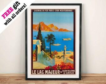 LAC MAJEUR POSTER: Vintage Mediterranean Travel Advert