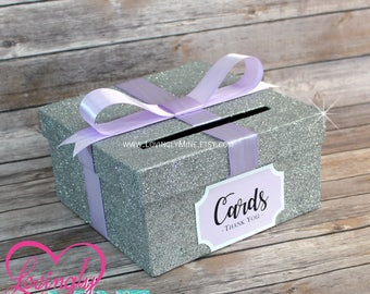 Card Box Glitter Silver & Lavender Gift Money Box for Any Event | Additional Colors Available | Wedding | Birthday | Graduation