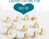 Custom Order for Darlene - Custom Set of 108 Gold Glitter Heart Push Pins