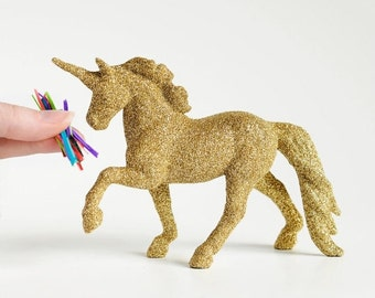 Gold Unicorn Glitter Critter for Magical Baby Showers, Nursery Decor, Wedding Decorations, Cake Topper, Table Centerpiece
