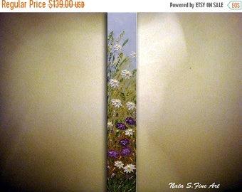 "Daisies Art Original Painting Wildflower Field Abstract Daisy Textured Artwork Interior Decor Vertical Art Painting 36"" x 6"" by Nata S."