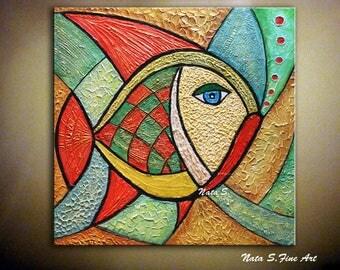 "Original Fish Painting, Modern Textured Art, Abstract Painting, Colorful Sculptural Artwork, Wall Art Painting Large Artwork 24""x24""- Nata S"