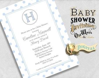 Baby boy shower invitation etsy nz sweet classics blue baby boy shower invitation monogram with polka dots custom printable baby filmwisefo