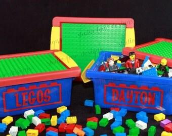 Personalized Storage Case w/Building Plate - Building Blocks Birthday Gift - Kids Travel Activity - Ring Bearer Gift - Blocks Holder