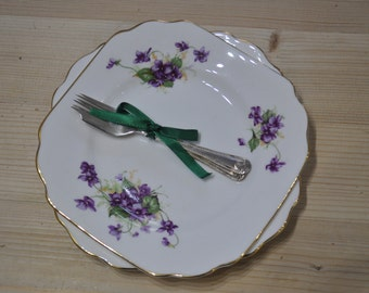 Vintage Violets Pair of Radfords Bone China Tea Plates with Two EPNS Cake Forks
