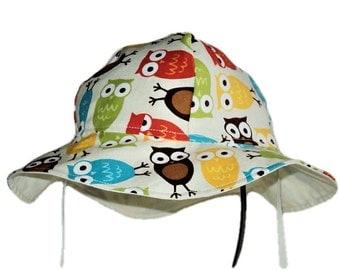Owl Baby Sun Hat, Summer Hat, Boy Sun Hat, Girl Sun Hat, Toddler Hat, Cotton Hat, Newborn Hat, Floppy Beach Hat, Baby Gift, Made To Order