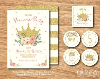 Printable Princess Birthday Party Package, Princess Party Invitation, First Birthday Party Decorations, DIY, Royal Crown Invite, Floral